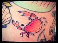 Cute Red Crab Tattoo