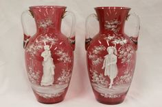 Pr Mary Gregory cranberry glass vases : Lot 228 www.liveauctioneers.com
