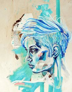 Girl with Shaved Head PRINT Mixed Media Painting by JenGrahamArt, $15.00