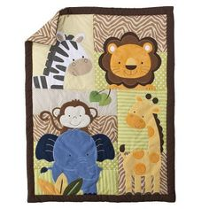 Target : Tiddliwinks Safari Friends 3pc Baby Bedding Set - Green/Brown