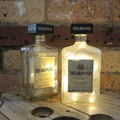Upcycled Disaronno Bottle Lamp for the drinks cabinet Empty Glass Bottles, Perfume Bottles, Cut Bottles, Liquor Bottles, Drinks Cabinet, Garden Bar, Garden Ideas, Bottle Lights, Bottle Lamps