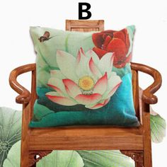 Chinese style lotus throw pillow for home decor flower sofa cushions