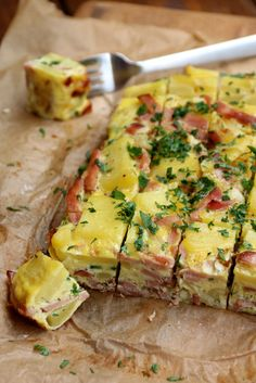 Baked ham and potato tortilla omelette