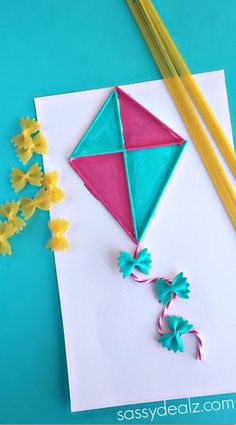 Pasta Noodle Kite Craft for Kids - Sassy Dealz This would be sooooo much fun for everyone. Pasta Noodle Kite Craft for Kids - Sassy Dealz This would be sooooo much fun for everyone. Kids Crafts, Spring Crafts For Kids, Summer Crafts, Toddler Crafts, Preschool Crafts, Projects For Kids, Diy For Kids, Diy And Crafts, Craft Projects
