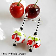 Cherry Earrings,  Cherry Jewelry, Rockabilly Cherries by Cherry Chick on Etsy