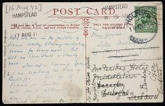 Postcard from Virginia Woolf to Lytton Strachey, 1912 Virginia Woolf, Leonard Woolf, Duncan Grant, Vanessa Bell, Bloomsbury Group, English Writers, Penmanship, Lomography, Mail Art