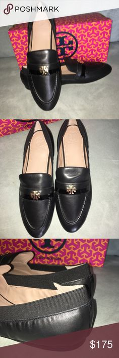 c3bb63f5ba8 Tory Burch Black Leather Loafers Brand new Tory Burch JOLIE black soft  leather flat loafer with