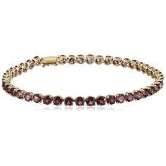 Bracelets,14k Yellow Gold Round Garnet Tennis Bracelet, 7