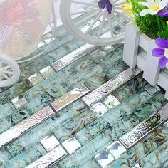 strip stainless steel mixed abalone drawing glass mosaic tiles for kitchen backsplash tile bathroom shower tile