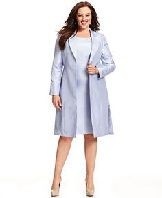Tahari by ASL Plus Size Pleated Jacket & Lace Skirt Suit | Evening