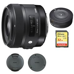 Sigma 30mm F1.4 ART DC HSM Lens for Canon Digital SLR Cameras (301101) with Sigma USB Dock for Canon Lens & Lexar 32GB Professional 1000x SDHC Class 10 UHS-II Memory Card