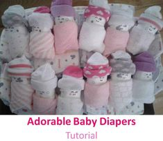Great way to decorate a gift for baby showers. These little diapers swaddled in washcloths are the cutest thing Crafts For Kids, Arts And Crafts, Creating A Blog, Our Baby, Diapers, Washing Clothes, Baby Showers, Baby Shower Gifts, Cute Babies