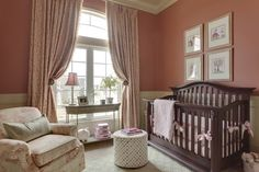 pretty nursery & love the drapery idea for an arched window!