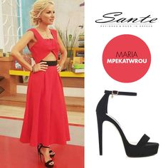 Maria Mpekatwrou (@mariampekatwrou) in SANTE High Heels (SKU-91751) styling by Christos Alexandropoulos (@christos_alexandropoulos) #SanteSS16 #CelebritiesinSante Available in stores & online: www.santeshoes.com