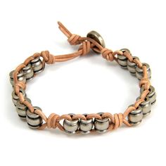 Silver Collared Barrel Beads Tan Leather Bracelet with Button Closure