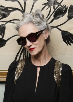Linda Rodin (age 65) in Black Blue Moon sunglasses by Karen Walker