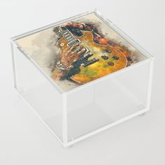 slash's guitar, guitar wall art, living room decor, music room decor, gift for guitarists Acrylic Box by popcultposters Acrylic Display Box, Acrylic Box, Clear Acrylic, Guitar Wall Art, Guitar Painting, Cool Artwork, Decorative Boxes, Just For You, Room Decor