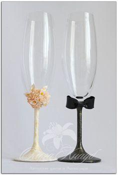 как украсить свадебные бокалы фото