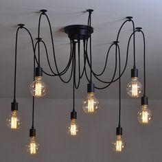 A Modern Skandináv Retro Edison-Izzó Lámpa Csillár Vintage Loft Antik Állítható DIY E27 Művészeti Pók Medál, Lámpa, Világítás