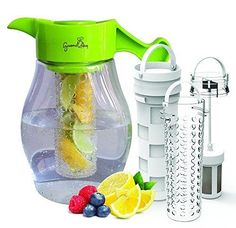 Fruit and Tea Infusion Pitcher - Free Recipe Ebook - Water & tea infuser jug includes 3 infusers for fruit tea and ice to enhance the flavor of water - Perfect for detox and weight loss