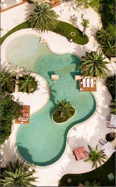 Chablé Resort & Spa Yucatán: Chablé Resort & Spa Yucatán/ Mexico: luxury shamanism - THE Stylemate Backyard Pool Landscaping, Swimming Pools Backyard, Swimming Pool Designs, Lap Pools, Indoor Pools, Pool Decks, Beach Entry Pool, Pond Design, Design Design