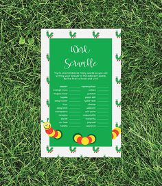 Baby Shower Word Scramble Game Caterpillar Girl Boy DIY Gender Neutral Activities Printable Digital File Instant Download 0111-A by TppCardS #tppcards #printable #invitations