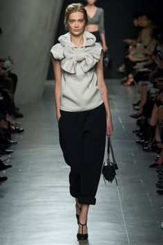 Not a big bow person, but this one is cleverly disheveled, and borders on tongue in cheek. It really is a pretty top!    Spring 2015 Ready-to-Wear - Bottega Veneta