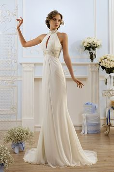 Simple Elegant Sheath Sweep Train Wedding Dress for Older Brides ...