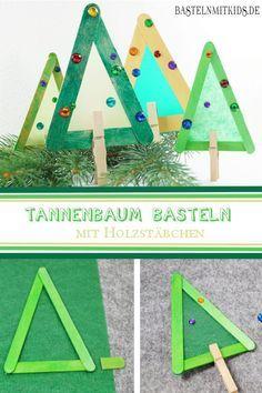 Tannenbaum Basteln Mit Holzstäbchen. Schnell Und Einfach Schöne  Weihnachtsdeko Mit Kindern Basteln.