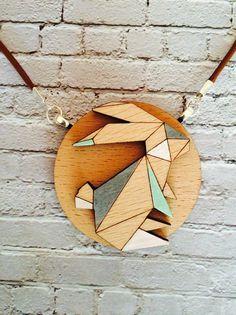 Origami geometric style rabbit pendant leather by whimsicalduchess
