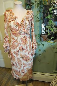 vintage inspired EXPRESS flutter sleeve WRAP DRESS paisley S chiffon SILK BOHO