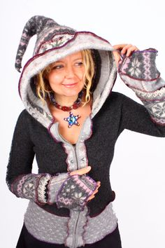 LOVE this one! Love that it's a hoodie, love the colors, the fun pattern, etc. Super cute. I'd love one just like it!!