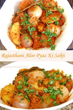 Aloo pyaz ki sabji or potato onion gravy Vegetarian Side Dishes, Tasty Vegetarian Recipes, Vegan Dishes, Healthy Recipes, Amazing Recipes, Great Recipes, Favorite Recipes, Appetiser Recipes, Snack Recipes