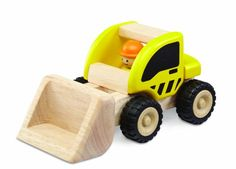 Wonderworld Yellow Miniature Wooden Loader  Push Toy Movable Latter Real Rubber Tires  Bonus Driver Included ** Click image to review more details.Note:It is affiliate link to Amazon.