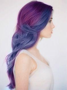 hair, hair color, multi-colored hair, purple, blue, purple hair, blue hair