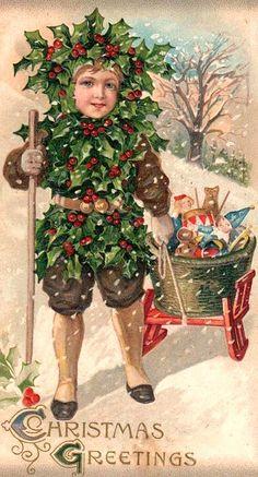 .Vintage Christmas postcard.
