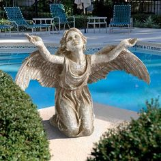 Arms and wings are outstretched to show the Design Toscano Heavens Devotion Angel Statue is joyful in her worship. Designer resin makes this garden. Angel Garden Statues, Garden Angels, Angel Sculpture, Lion Sculpture, Outdoor Sculpture, Garden Sculpture, Animal Statues, Faux Stone, Garden Art