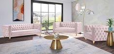 Glam Pink Velvet Tufted Loveseat MICHELLE Meridian Contemporary Modern