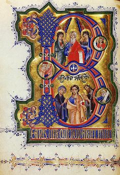 Detail of illuminated manuscript - The Breslau Psalter Medieval Manuscript, Medieval Art, Renaissance Art, Illuminated Letters, Illuminated Manuscript, Armadura Medieval, Illumination Art, Book Of Kells, Book Of Hours