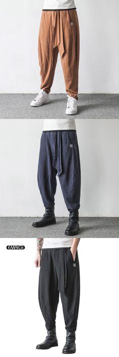 882142390d1 Men Spring Chinese Style Embroidery Linen Casual Pants Men Fashion Autumn  Male Loose Harem Pant Men Cross Pant Trousers K414