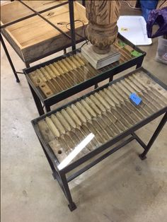 Narrow End Tables From Old Cigar Molds On Custom Iron Bases