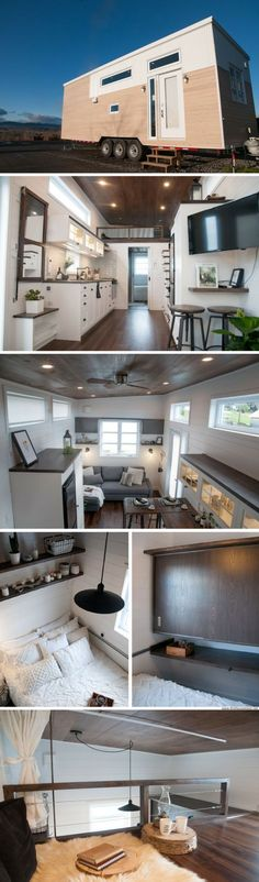 The Laurier tiny house from Minimaliste Honey this is the tiny home I want! Two Bedroom Tiny House, Tiny House Living, Tiny House Plans, Tiny House On Wheels, Minimaliste Tiny House, Tiny House Movement, Tiny Spaces, Tiny House Design, My New Room