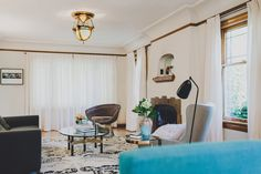 white room + b+w rug