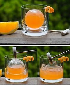 cocktail in an ice sphere