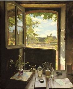 .:. View through a window, 1934, Konstantin Andreevich Somov. Russian (1869 - 1939)