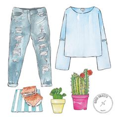 Good objects - Friday's outfit #goodobjects #illustration #watercolor