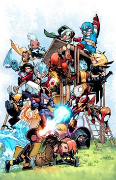 Giant Size - Little Marvel - AVX cover by Humberto Ramos, colours by Marte Garcia, variant cover and interior art by Skottie Young * Marvel Comics, Chibi Marvel, Marvel Kids, Bd Comics, Marvel Heroes, Marvel Characters, Marvel Fan, Comic Book Artists, Comic Books Art