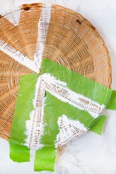DIY Painted Rattan Plate Holders | brepurposed