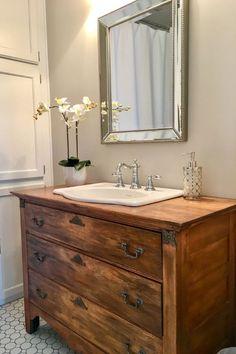 Home Decor rustic bathroom vanities old dressers powder rooms baby girl room ideas pink gre. Bathroom Vanity Designs, Rustic Bathroom Vanities, Bathroom Interior, Modern Bathroom, Baby Bathroom, Vanity Decor, Mirror Bathroom, Vanity Ideas, Small Bathroom