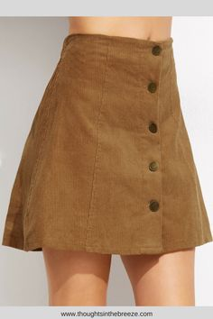 2b4fb0bb14 Khaki Corduroy Single Breasted A Line Skirt, Summer is skirt season, check  out these